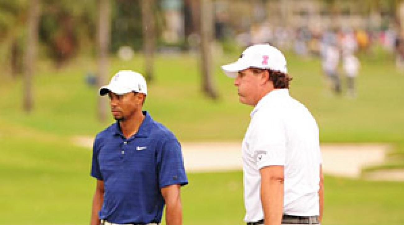 Mickelson and Woods got off to slow starts on Thursday, going two under and one under respectively.