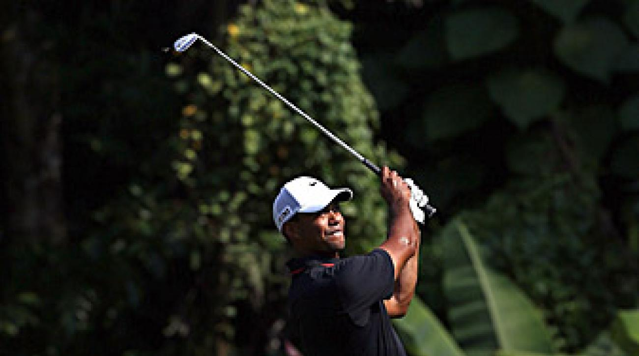 Tiger Woods shot a 67 in the second round.
