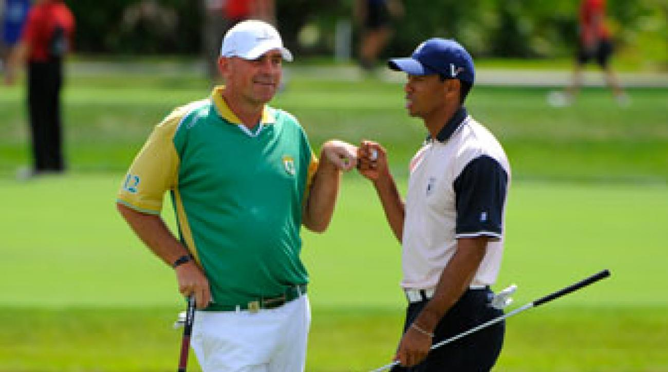 Tiger Woods played with Thomas Bjorn on Tuesday.