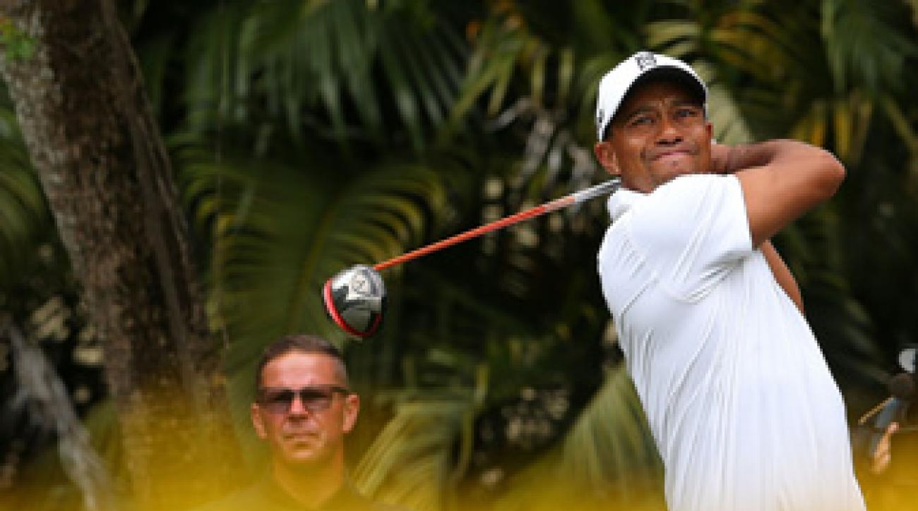 Tiger Woods withdrew from the Cadillac Championship last year after he injured his left Achilles.