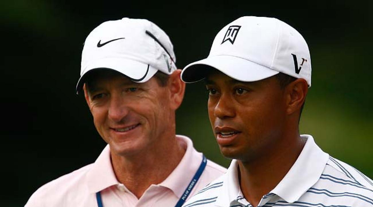 Hank Haney and Tiger Woods at the 2009 PGA Championship.