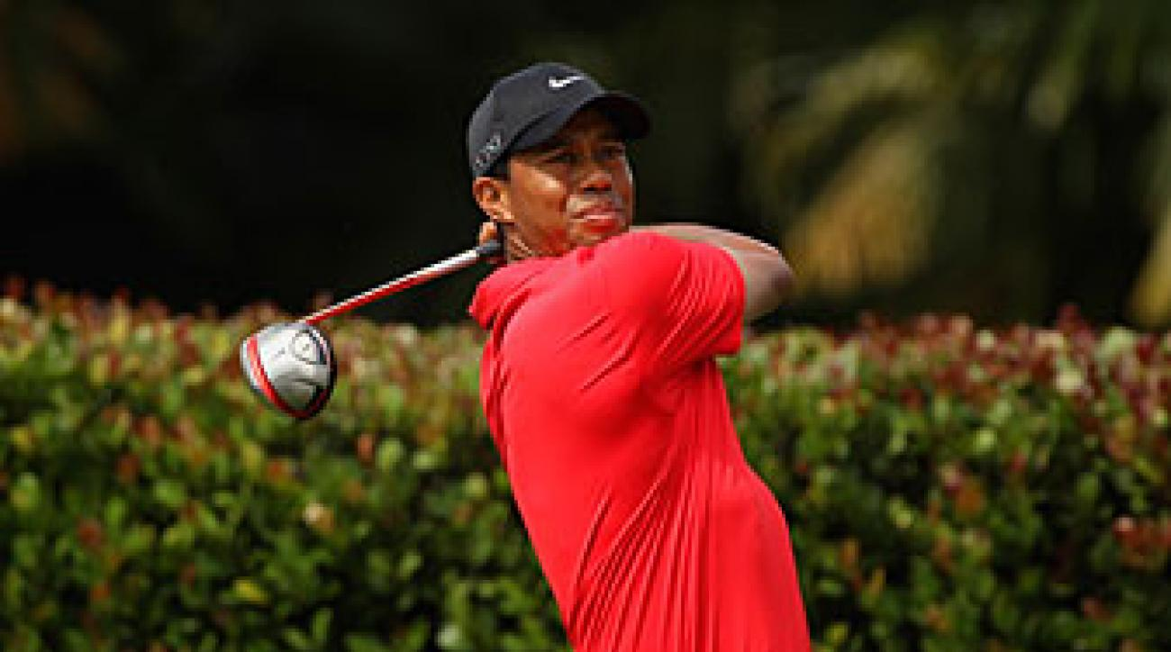 Tiger Woods strained his left Achilles last week at Doral.