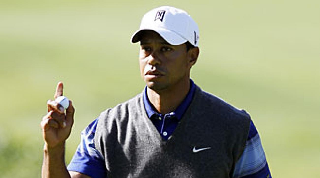 Tiger Woods made two eagles on Friday in his round of five-under 67.