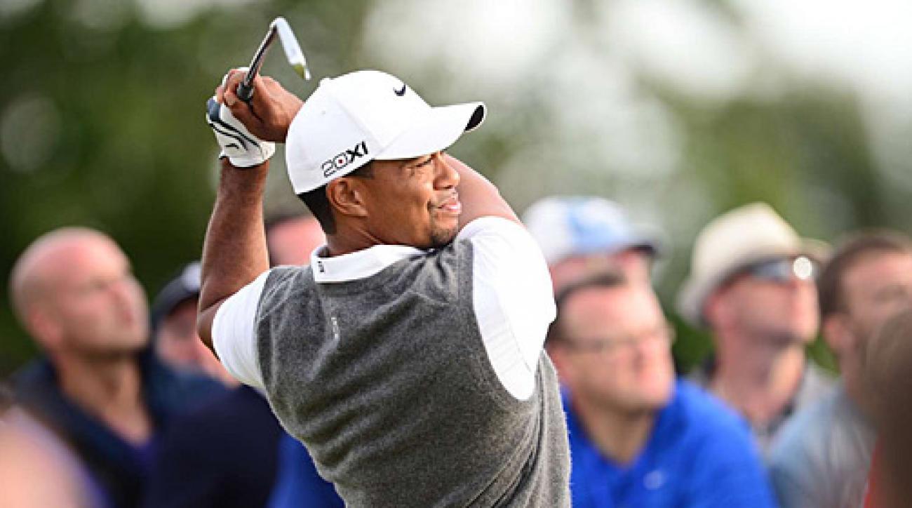 Tiger Woods will start the final round five shots behind Adam Scott.