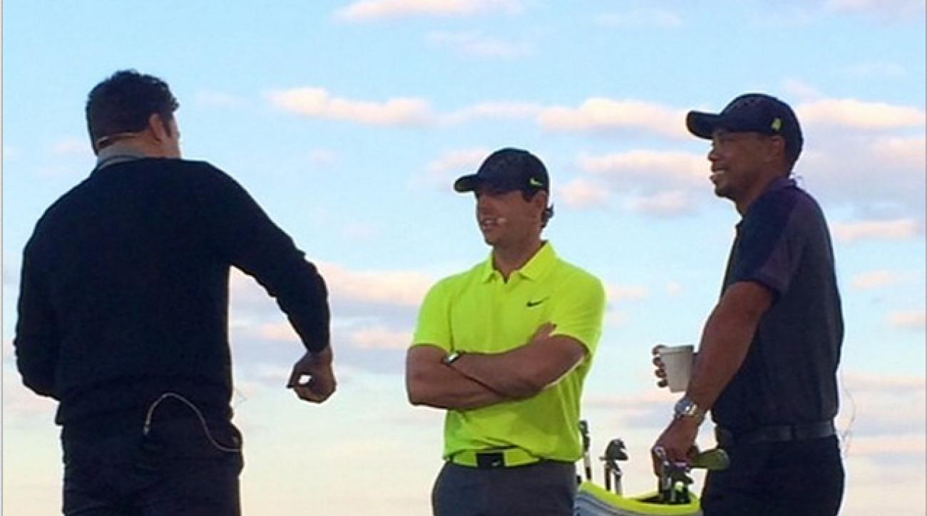 Jimmy Fallon, Rory McIlroy and Tiger Woods at a Nike event Monday evening at Liberty National Golf Club in Jersey City, N.J.
