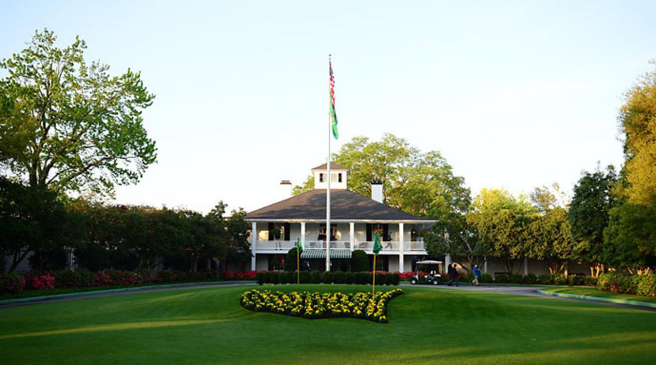 The entrance to the clubhouse at Augusta National from Magnolia Lane on Friday.