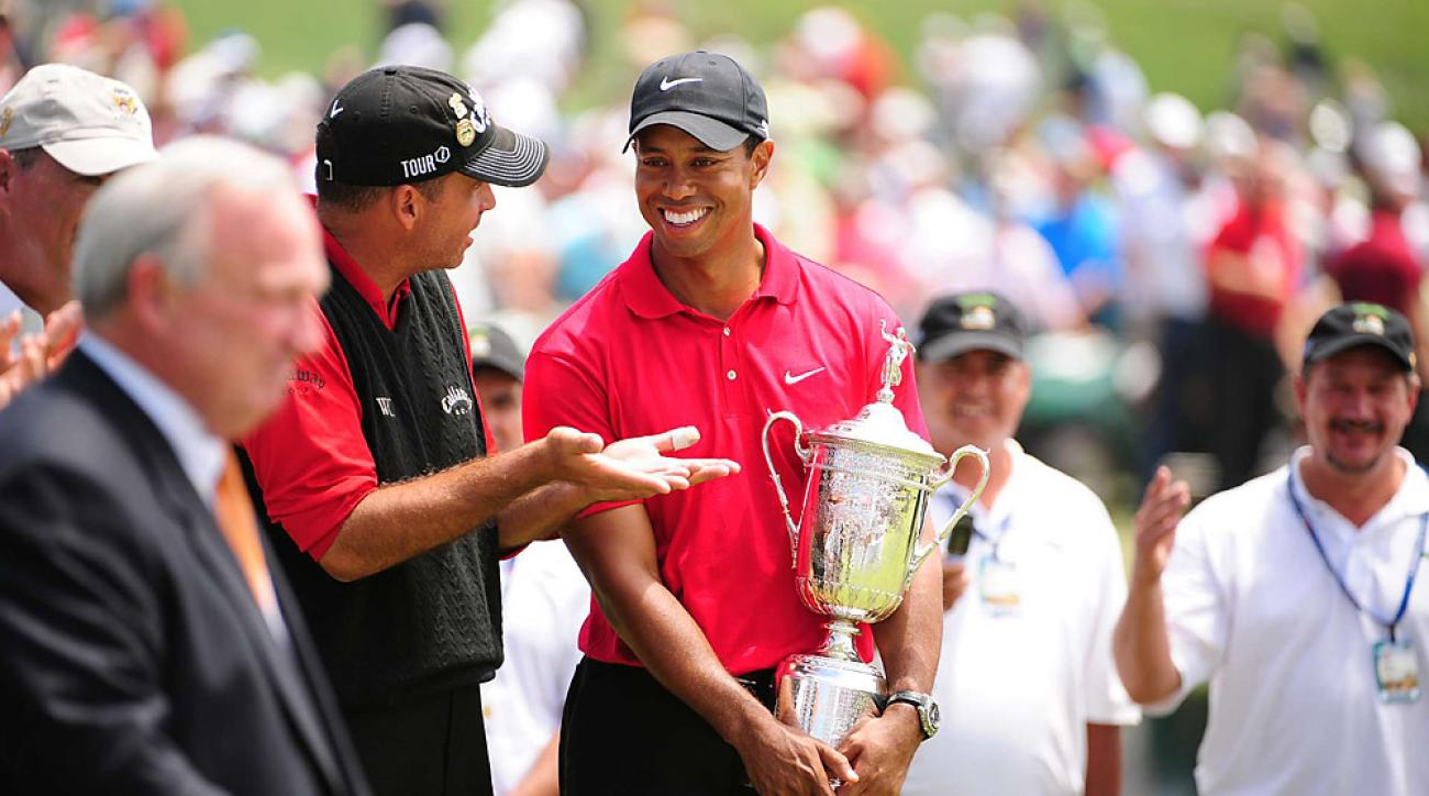 When Torrey Pines hosted the 2008 U.S. Open, Woods won his 14th major with the most dramatic performance of his career. Playing on an injured knee and broken leg, he defeated Rocco Mediate in a 19-hole Monday playoff.