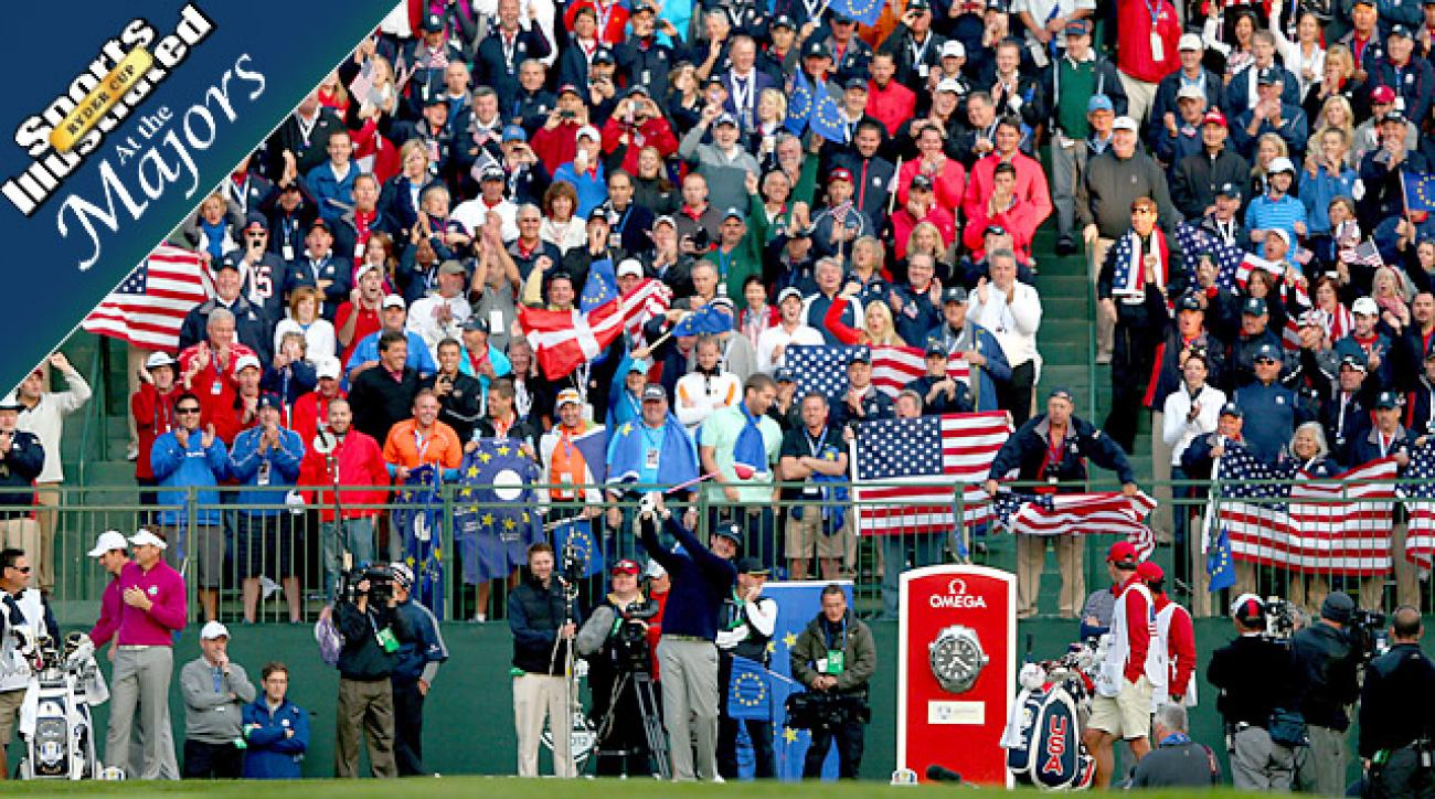 End of Civilization? Fans cheer during Bubba Watson and Ian Poulter's tee shots