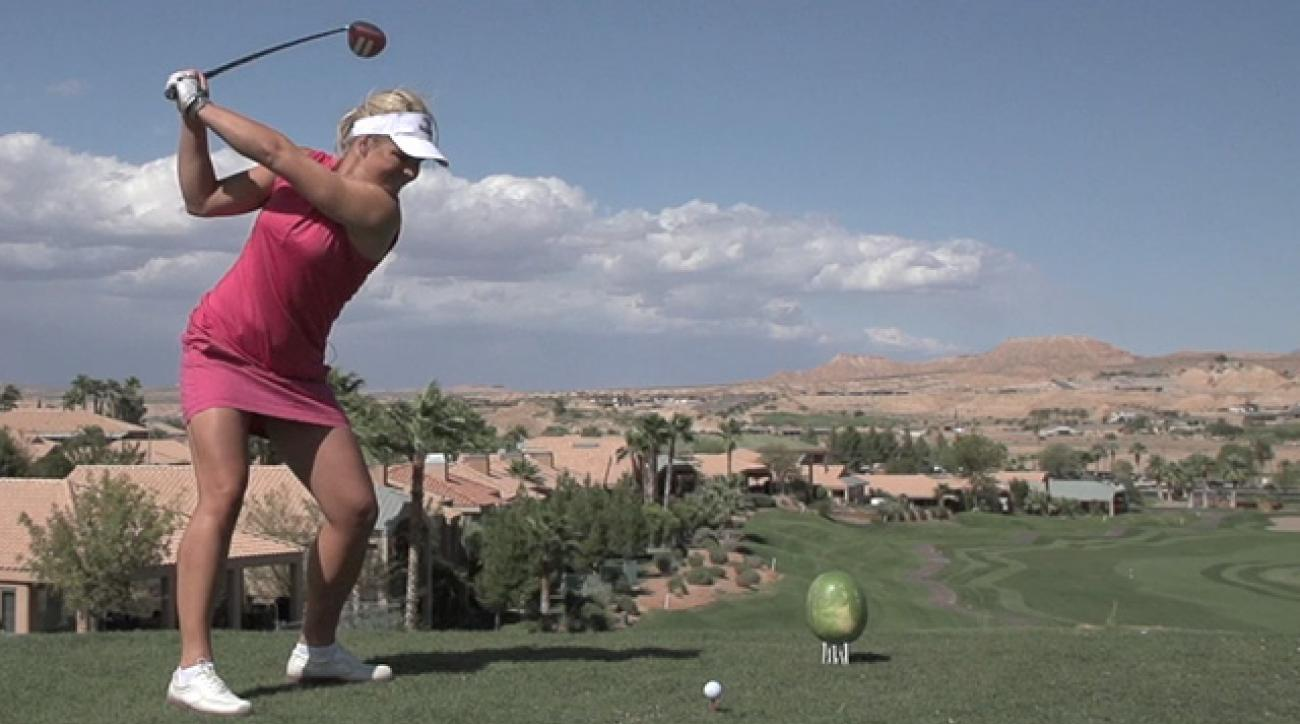 Long Driver Sandra Carlborg Smashes Melon in Slo-Mo