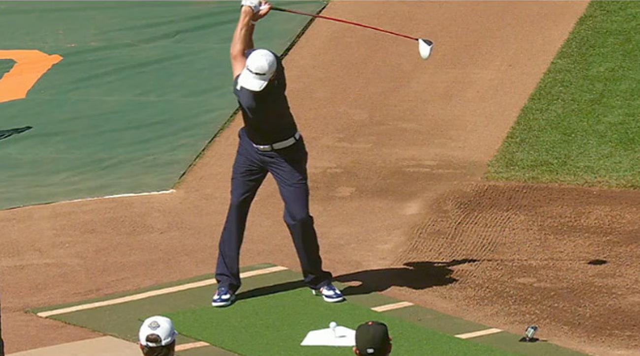 Dustin Johnson Hits Drives into McCovey Cove