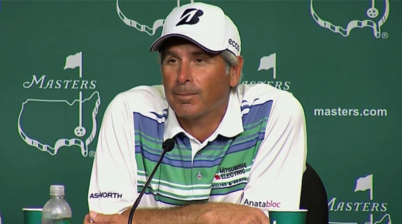 Fred Couples speaks to the media after the second round at the Masters