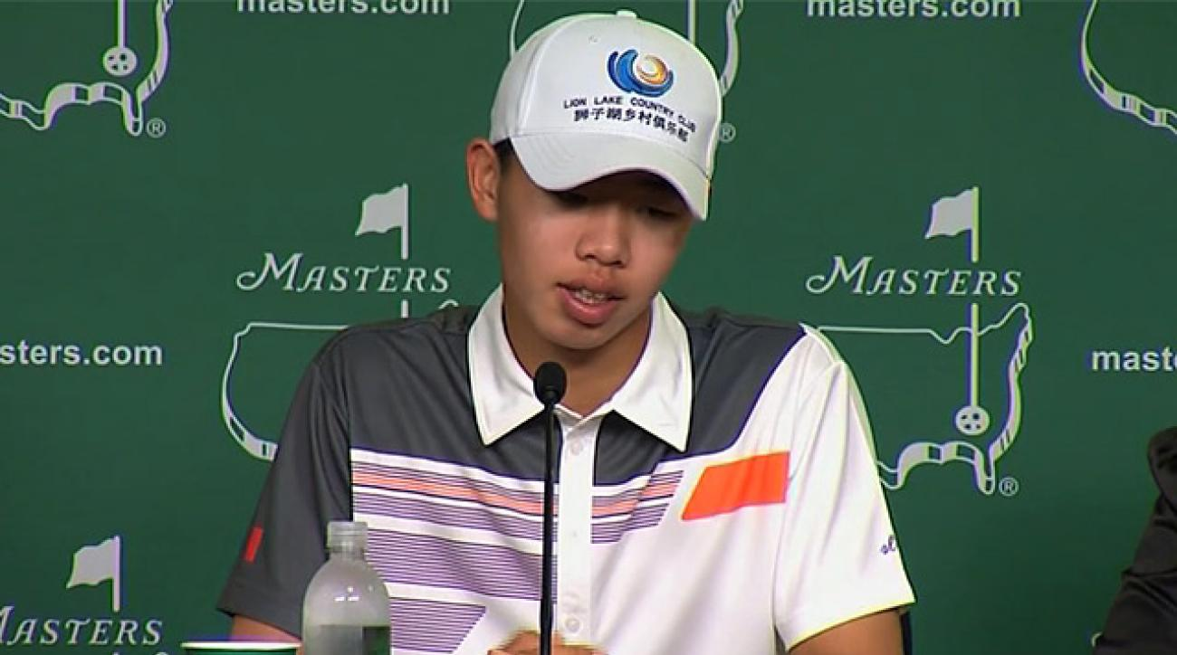 Tianlang Guan talks to media following Masters final round