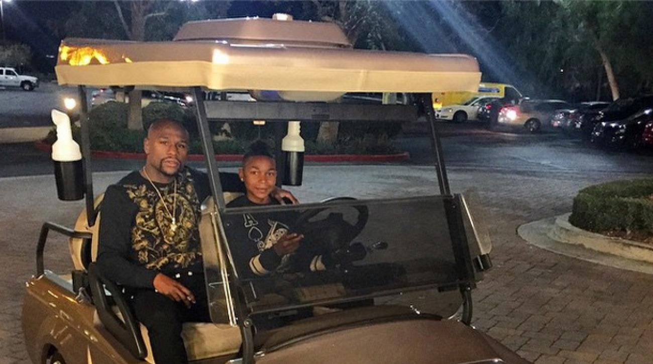 Boxer Floyd Mayweather bought his 15-year-old son this gold Bentley golf cart.