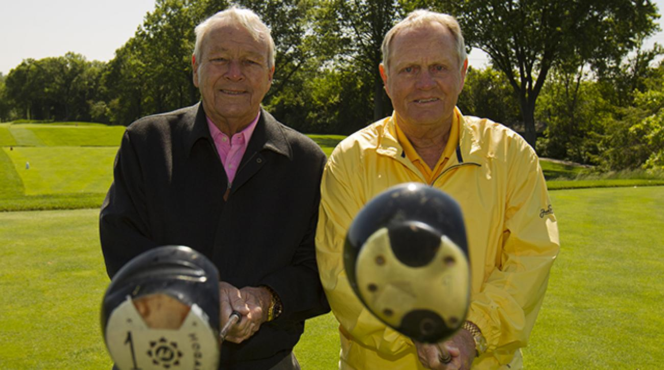 Arnold Palmer and Jack Nicklaus pose for a portrait during a filming for the 1962 U.S. OPEN: JACK'S FIRST MAJOR film.