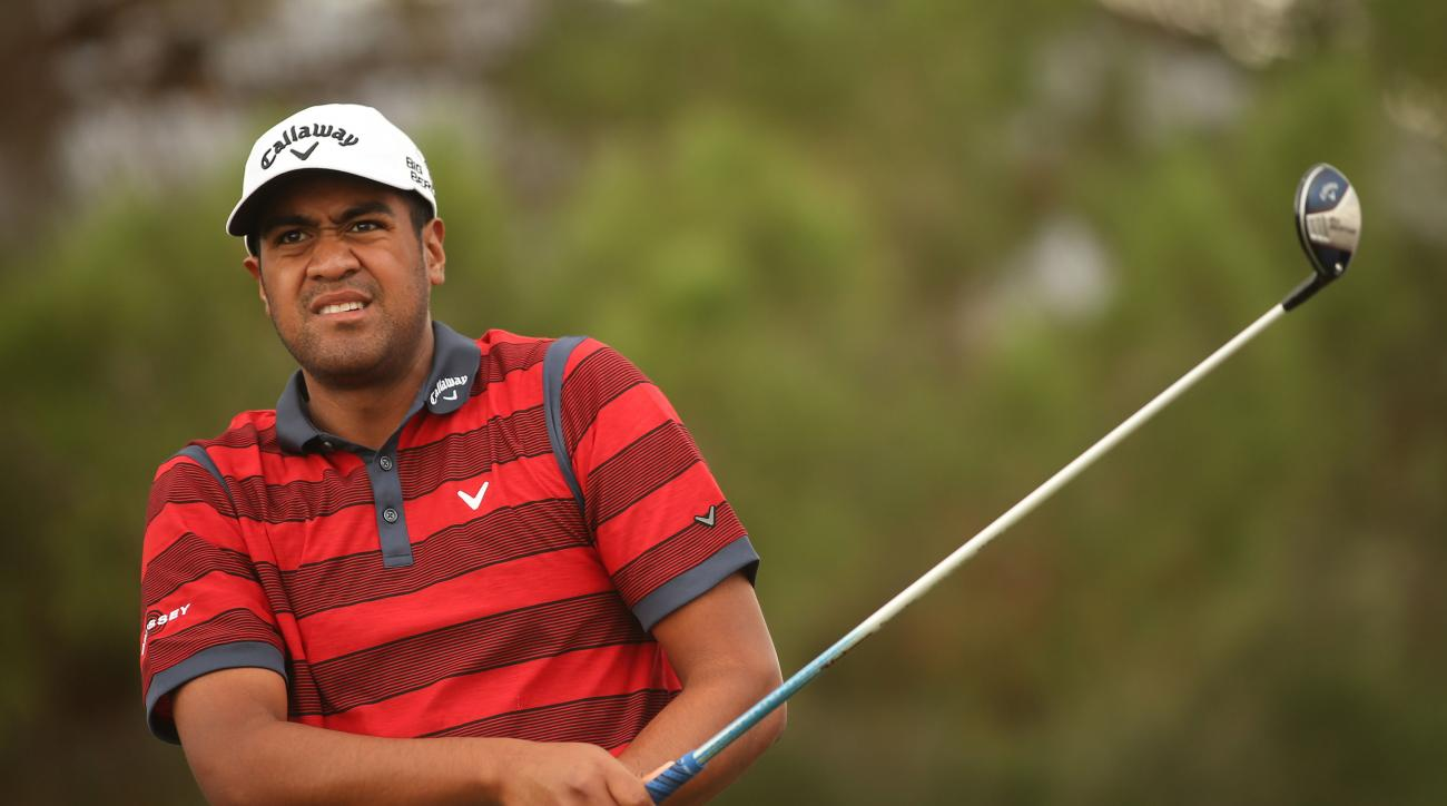Tour rookie Tony Finau plays his tee shot on the first hole during the third round of the Shriners Hospitals For Children Open in October in Las Vegas.