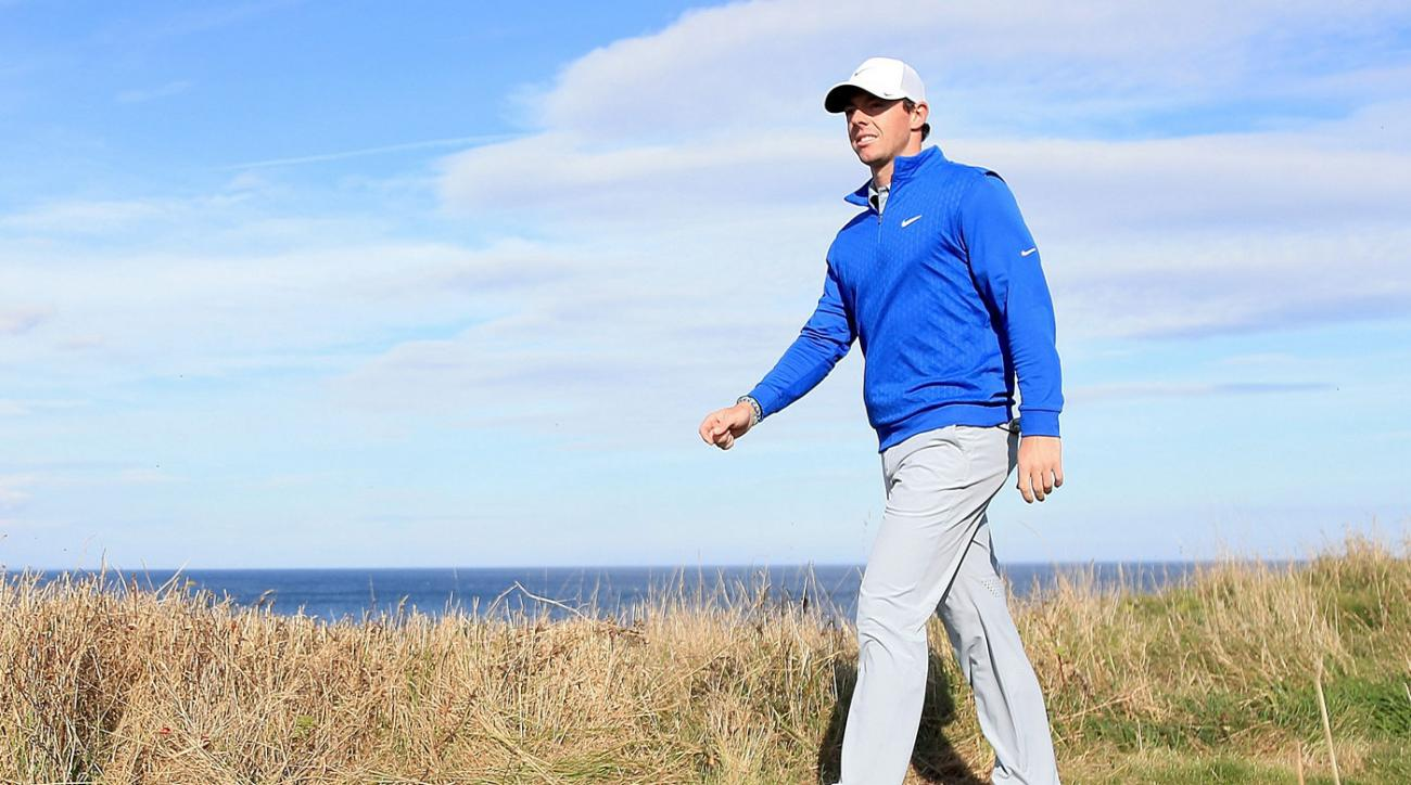 Rory McIlroy walks the course prior to the Alfred Dunhill Links Championship at the Kingsbarns Golf Club.
