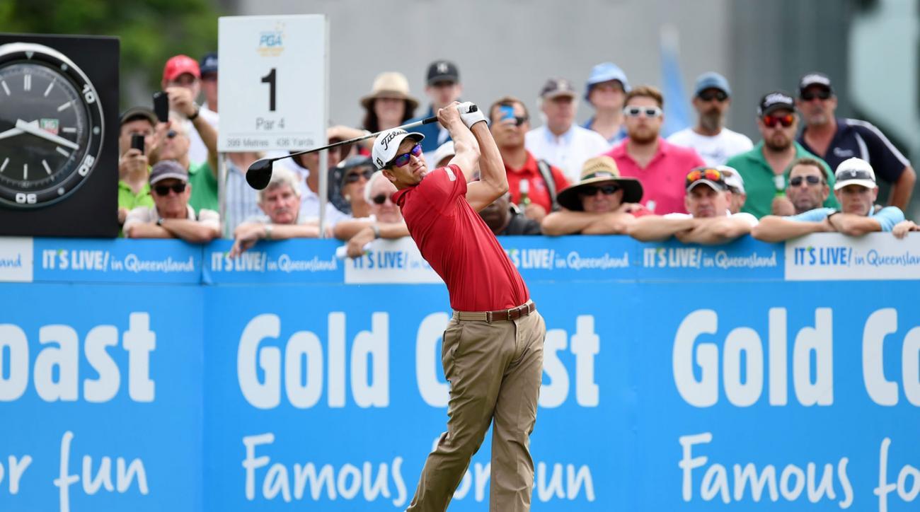 Adam Scott hits a tee shot in the second round of the Australian PGA.