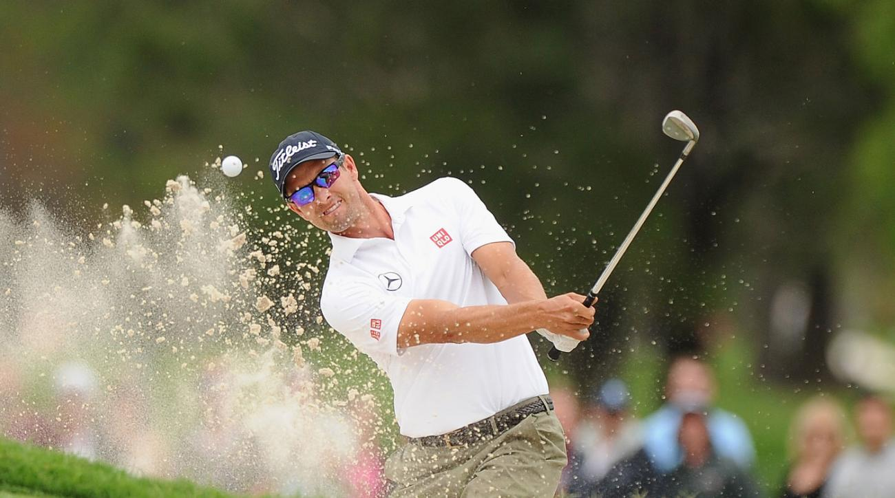 Adam Scott is tied for the lead at the Australian PGA.