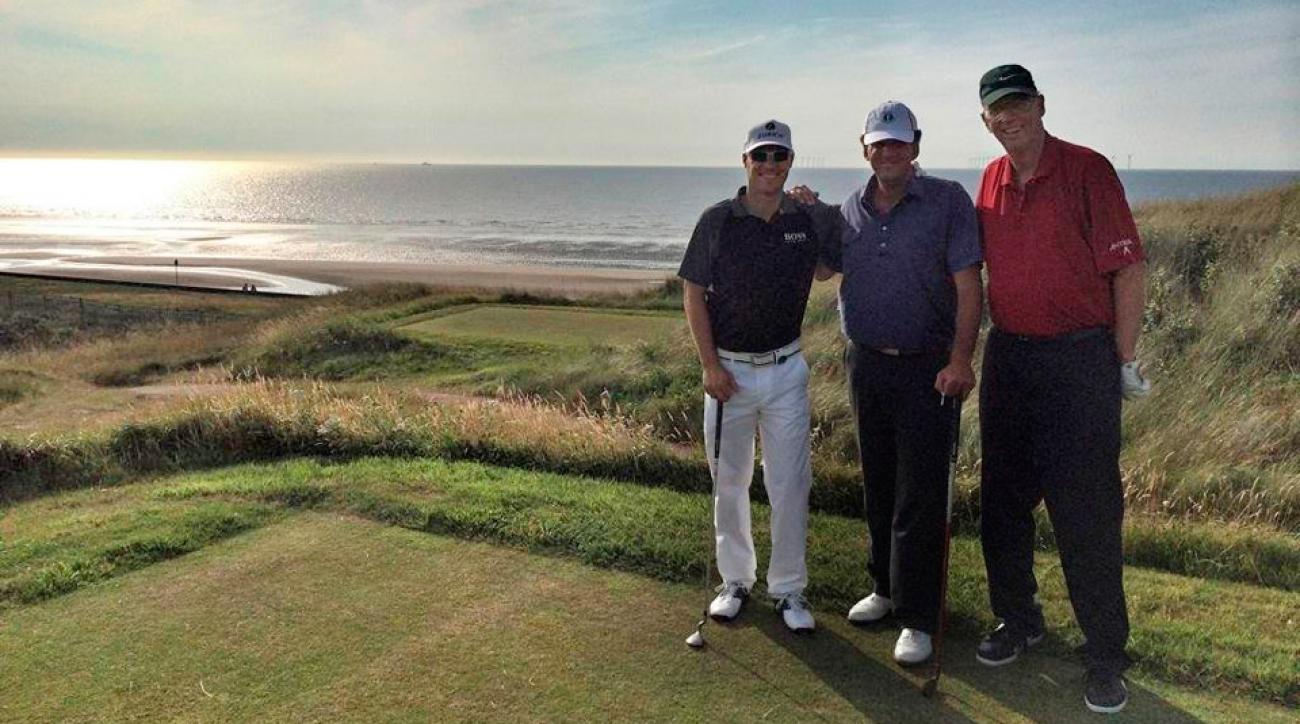 From left: Ben Crane, Michael Bamberger and John Garrity at Wallasey Golf Club.