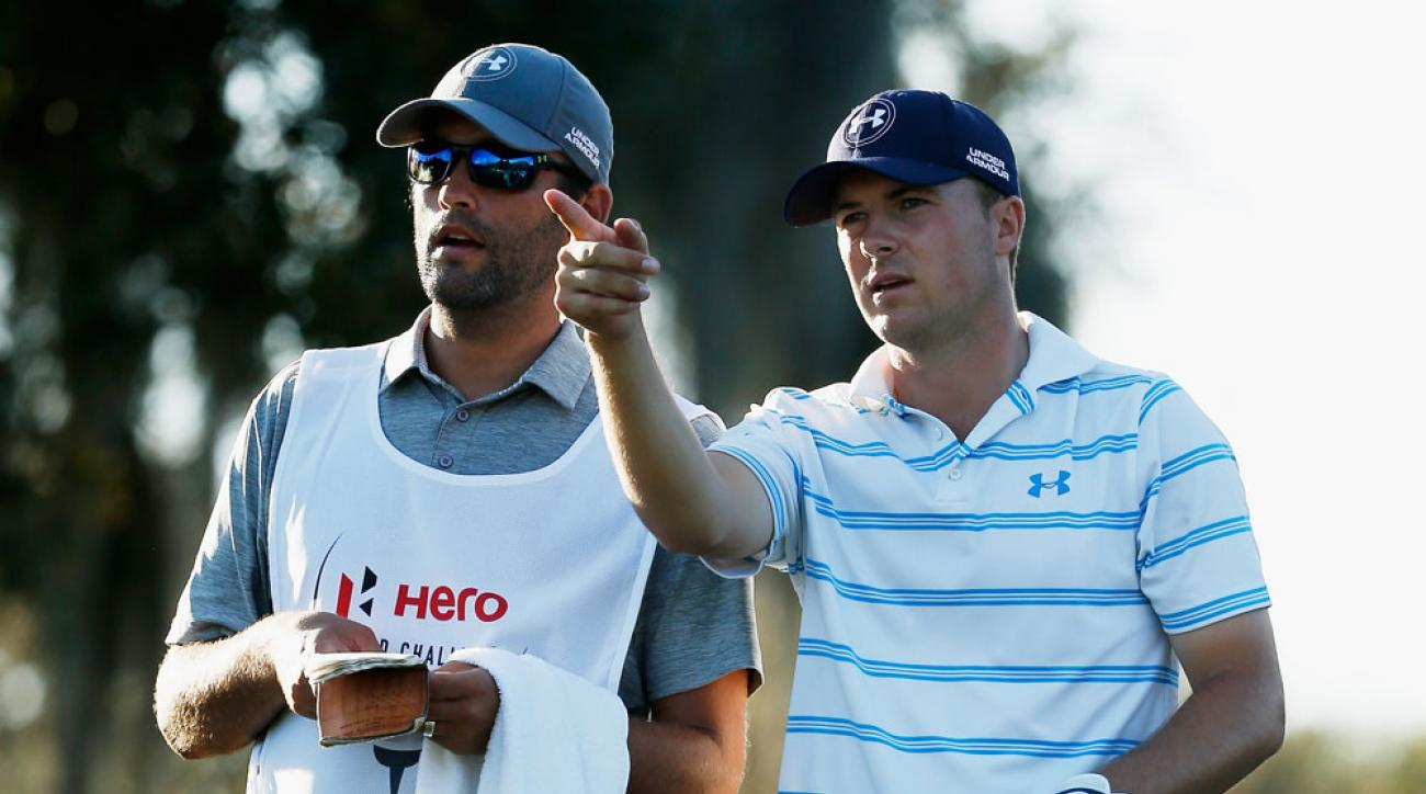 Michael Greller and Jordan Spieth during the third round of the Hero World Challenge at Isleworth.