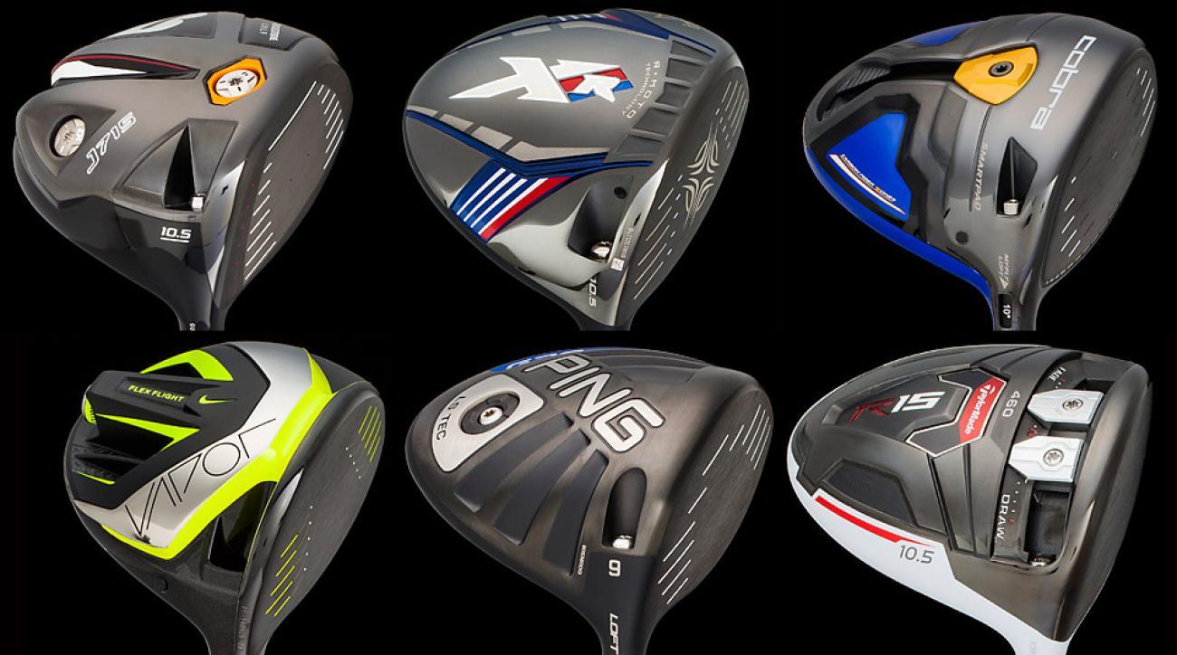 Clockwise from top left: Bridgestone J715; Callaway XR; Cobra Fly-Z+; Nike Vapor Flex; Ping G30 LS Tec; TaylorMade R15