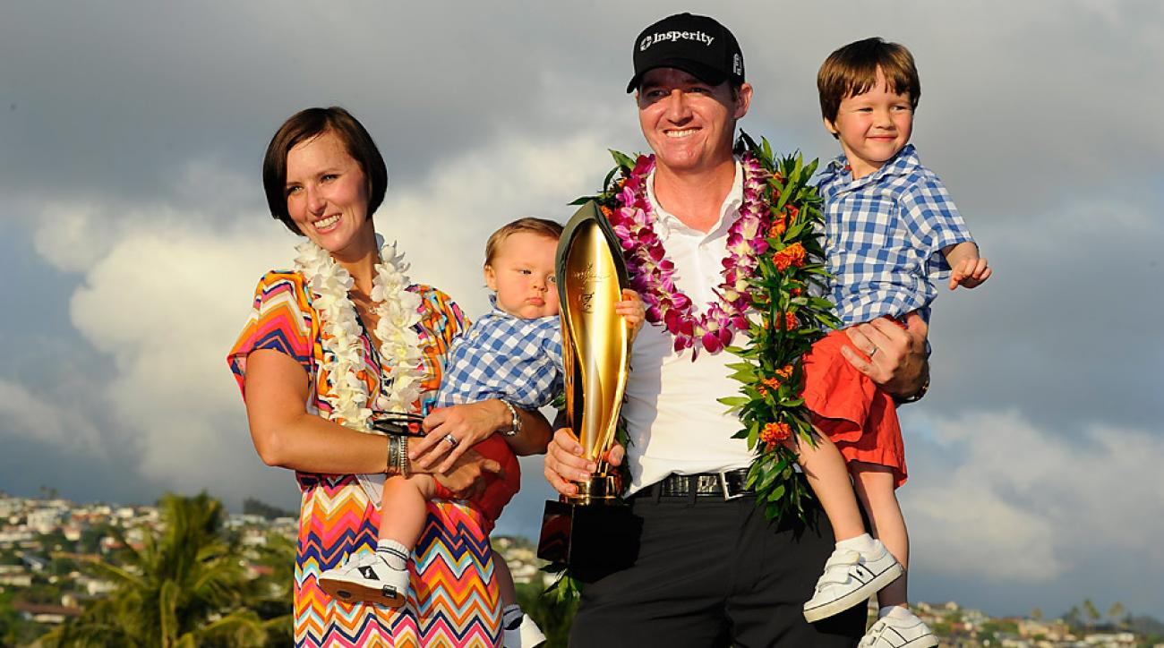 Jimmy Walker celebrates with his family after winning the 2014 Sony Open.