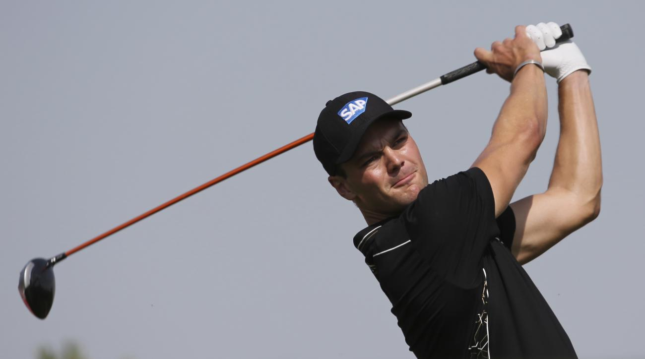 Martin Kaymer of Germany tees off on the 3rd hole during the third round of the HSBC Golf Championship in Abu Dhabi, United Arab Emirates, on Saturday.