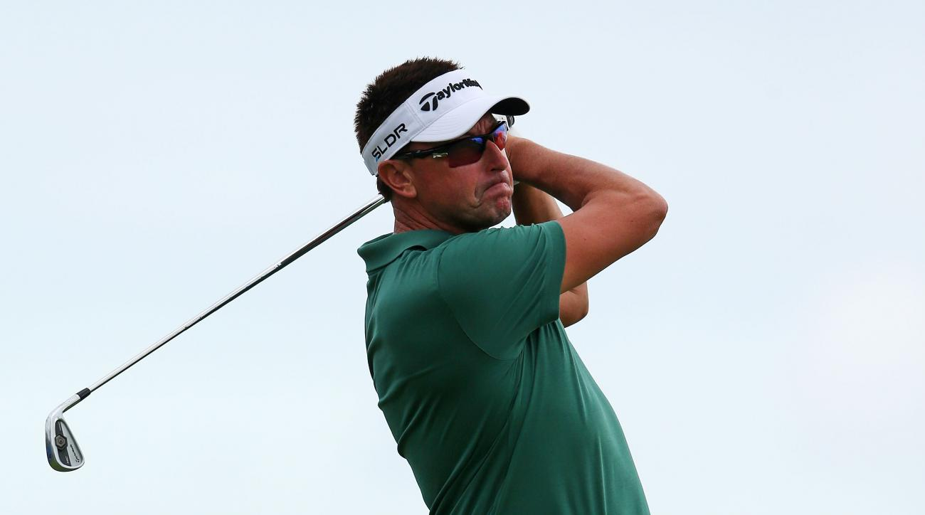Robert Allenby tees off during the second round of the Sony Open in Hawaii.