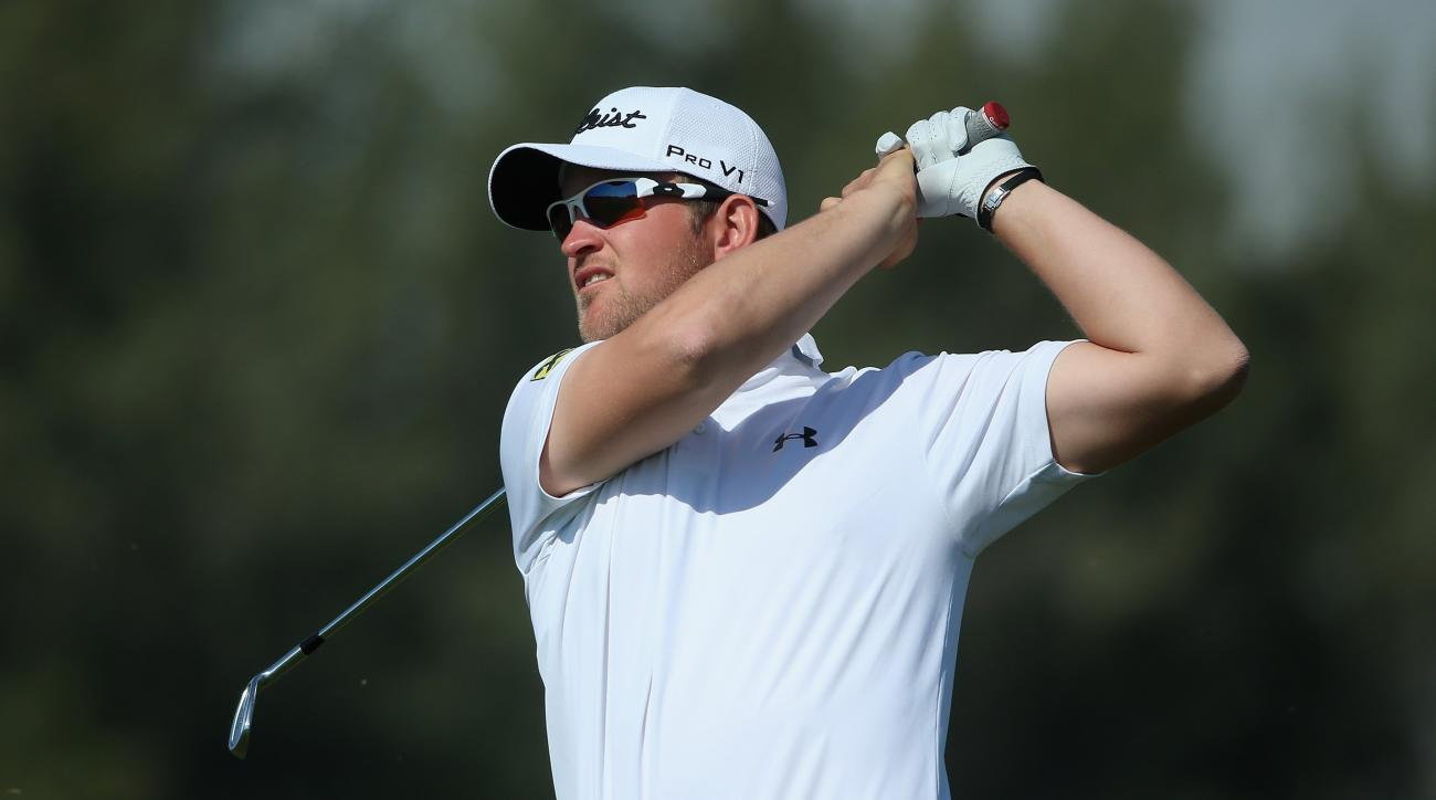 Bernd Wiesberger of Austria plays his third shot on the ninth hole during the second round of the 2015 Qatar Masters.