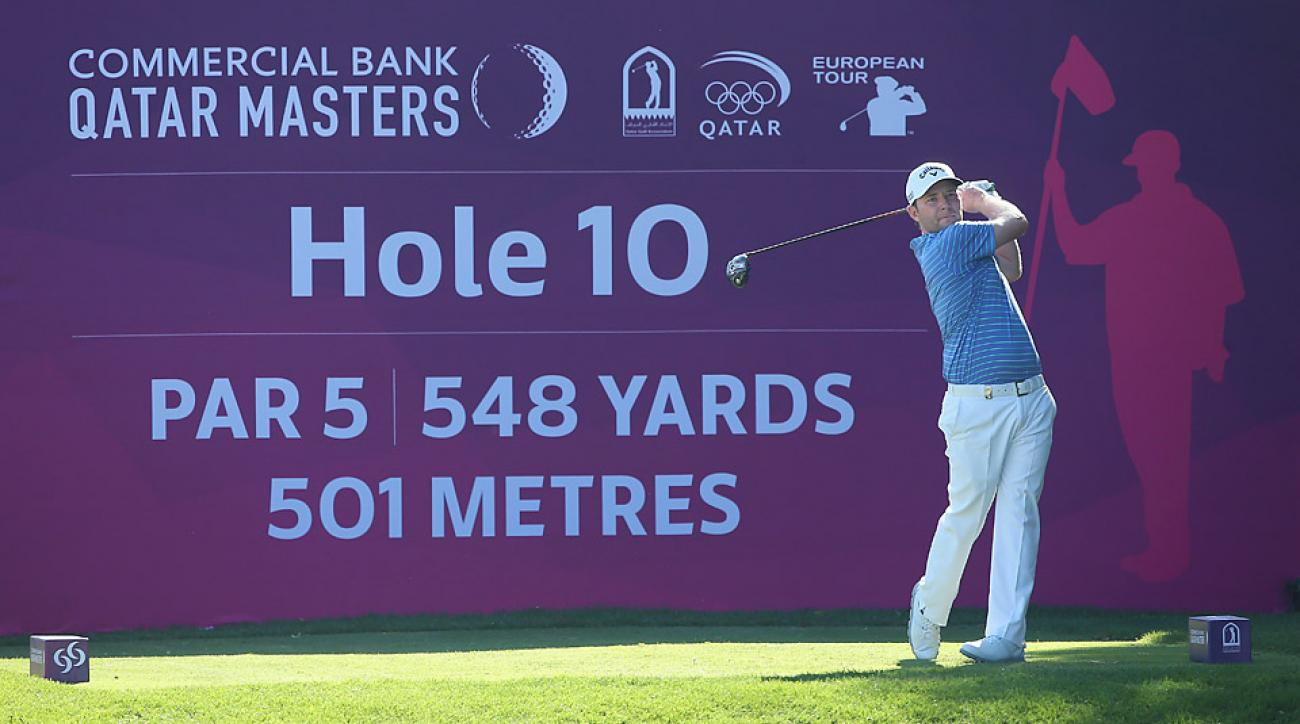 Branden Grace of South Africa hits a tee shot during the Commercial Bank Qatar Masters.