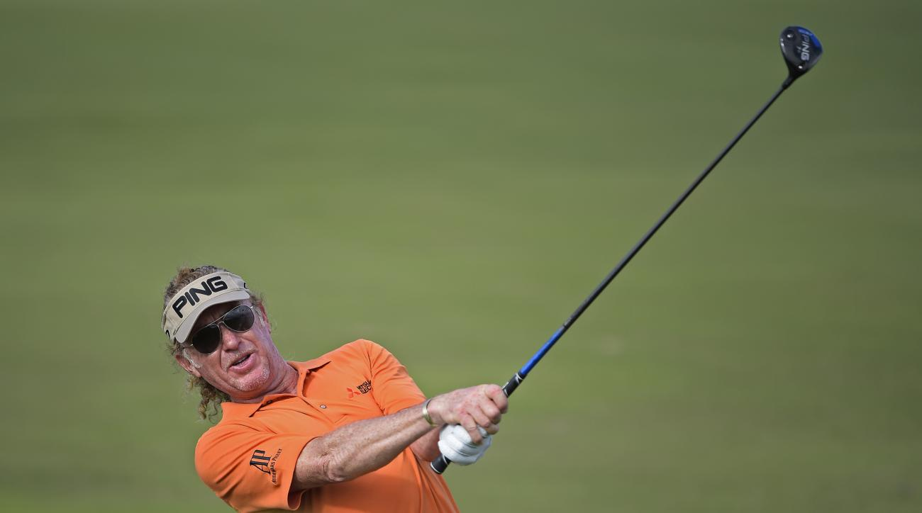 Miguel Angel Jimenez plays his second shot on the 14th hole during the second round of the Mitsubishi Electric Championship in Hawaii.