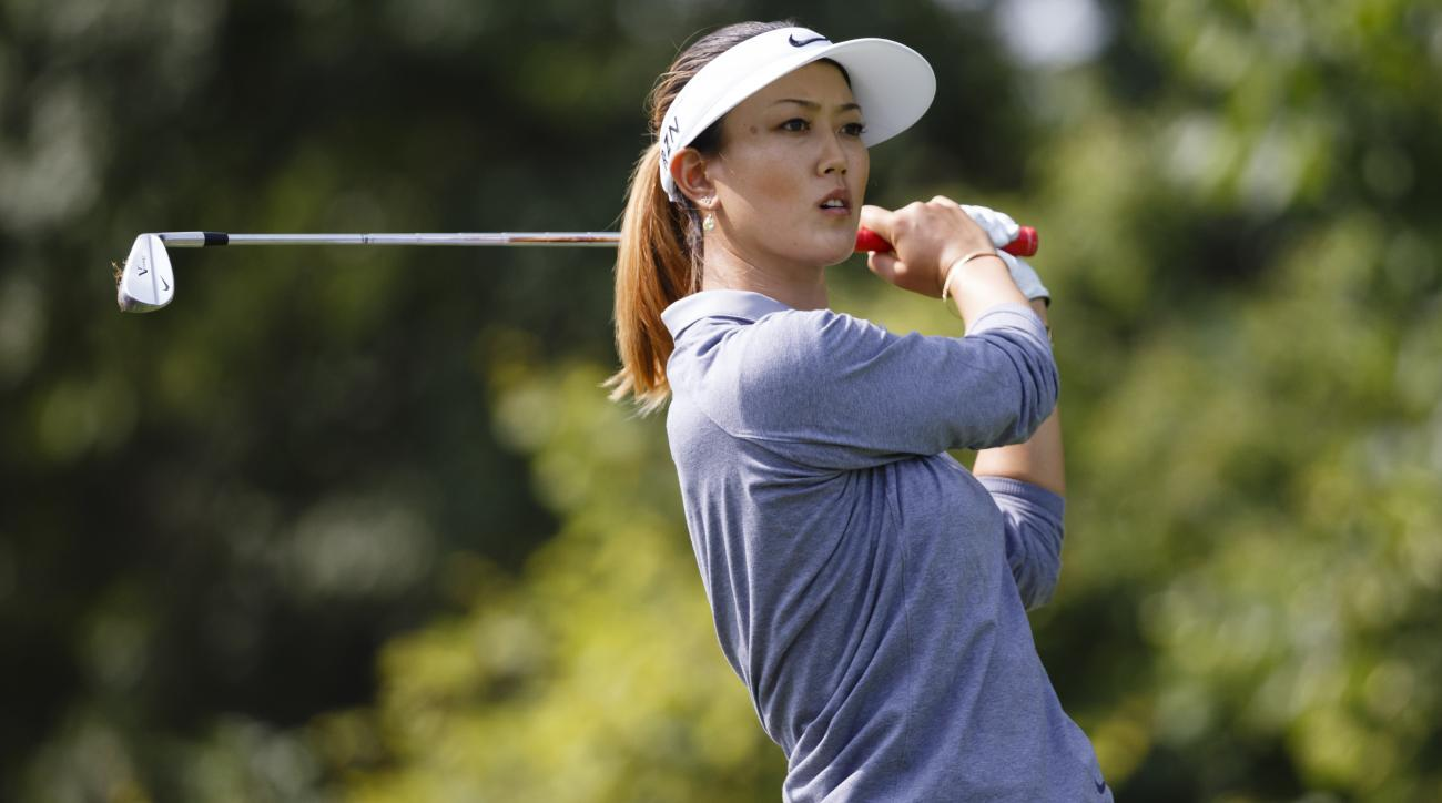 Michelle Wie tees off on the second hole during the second round of the Marathon Classic LPGA golf tournament at Highland Meadows Golf Club in Sylvania, Ohio, Friday, July 18, 2014. (AP Photo/Rick