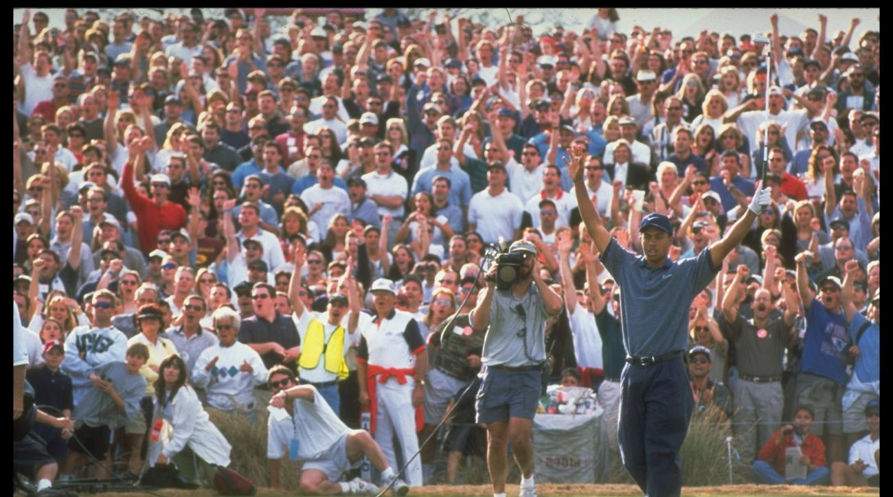 Tiger Woods sent the Phoenix Open crowd into a frenzy when he aced the 16th hole at TPC Scottsdale in 1997.