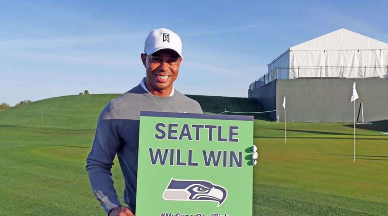 Tiger Woods with his Super Bowl pick.