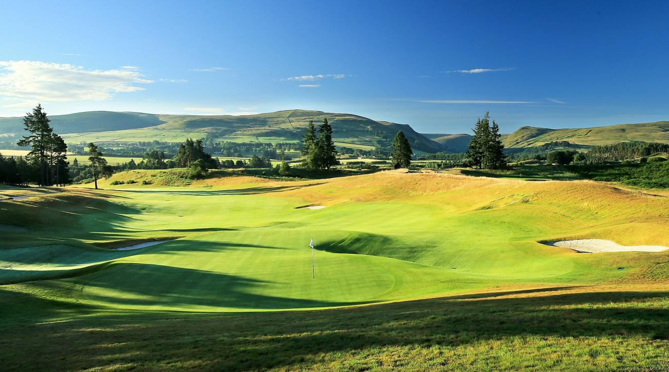 A view from behind the green on the 18th hole at Gleneagles' PGA Centenary Course in Scotland, host of the 2014 Ryder Cup.