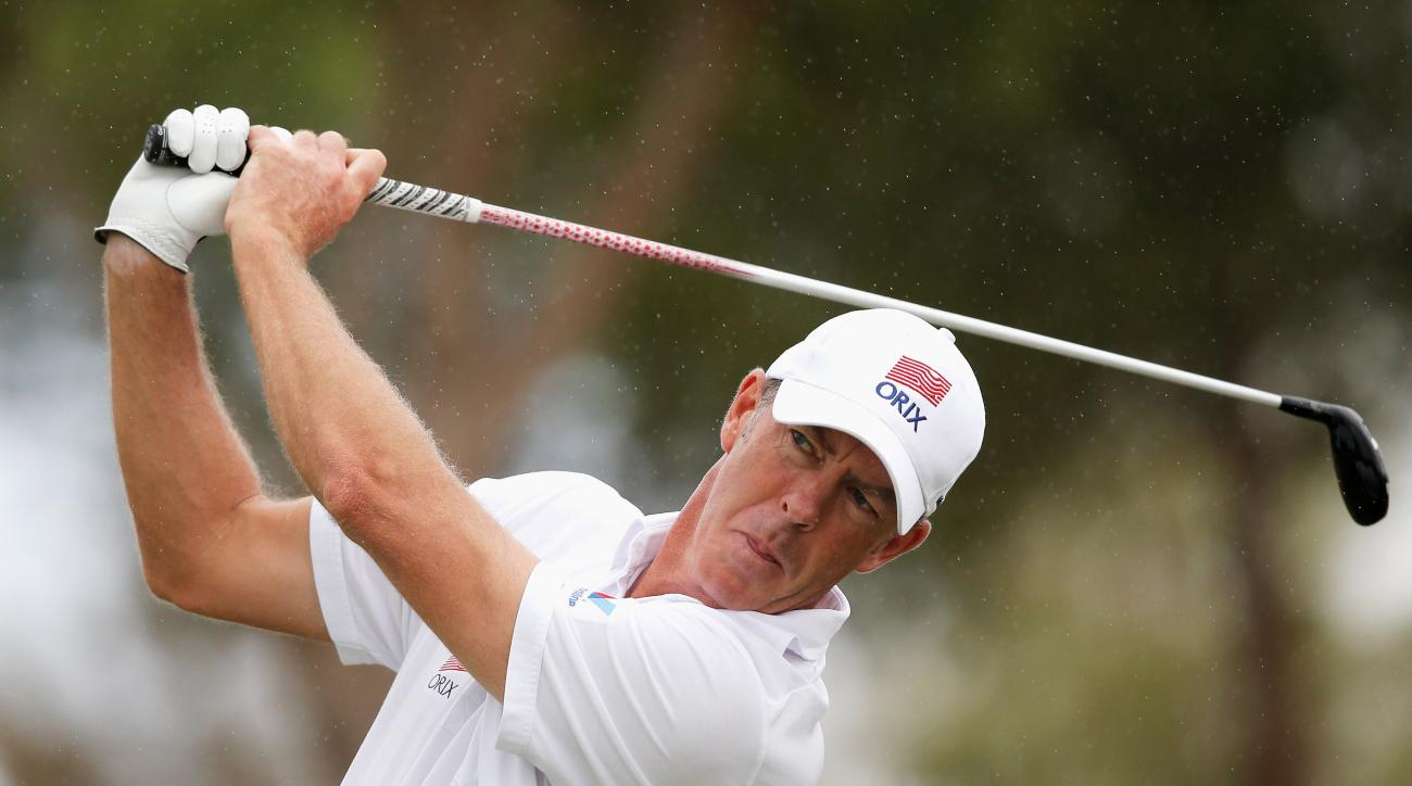 Richard Green of Australia hits his tee shot on the 16th hole during the 2014 Portugal Masters ProAm.