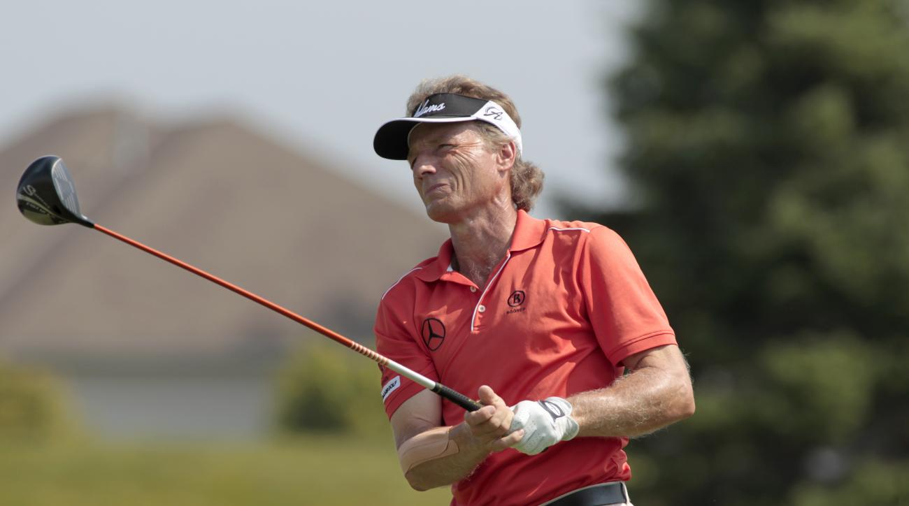 Bernhard Langer plays during the third round of the Champions Tour's 3M Championship golf tournament at TPC Twin Cities in Blaine, Minn., Sunday, Aug. 3, 2014. (AP Photo/Paul