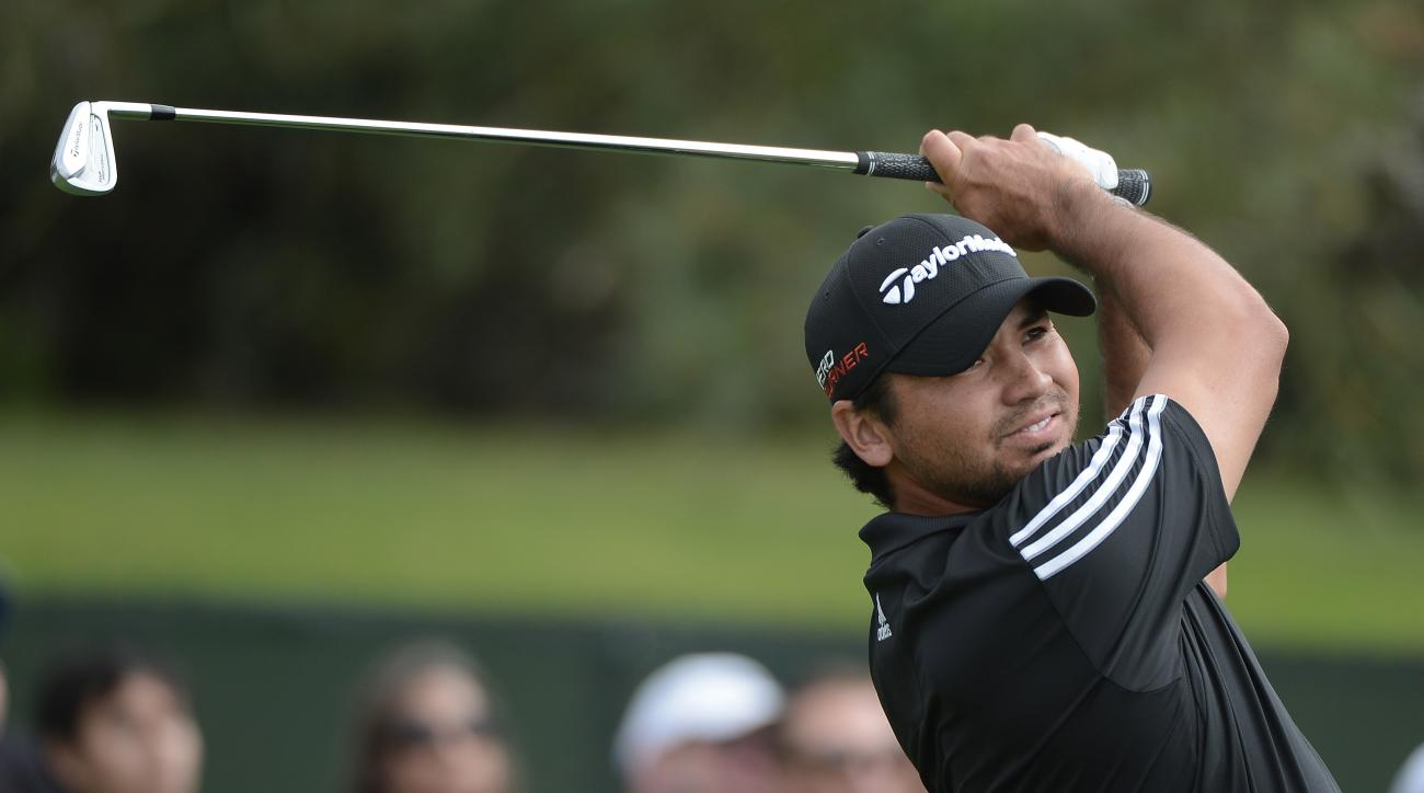 Jason Day tees off on the 11th hole during the final round of the Farmers Insurance Open on Sunday.