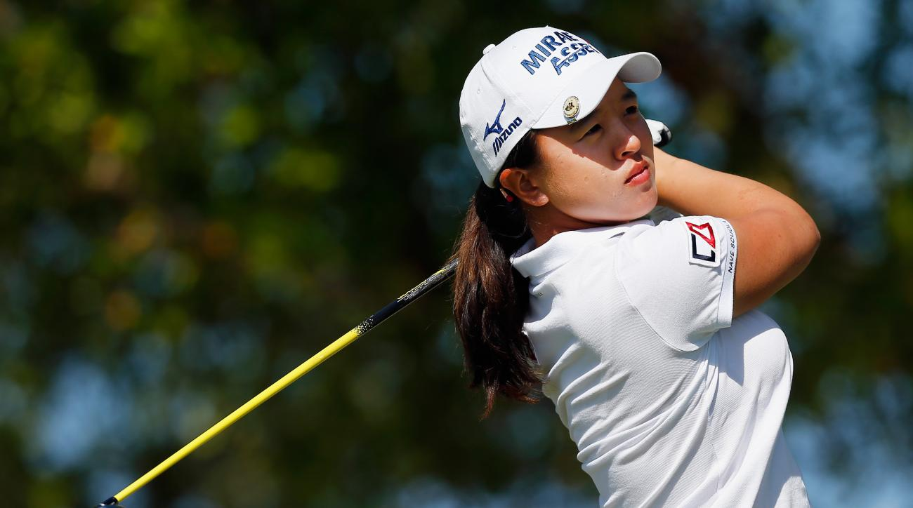 South Korea's Sei Young Kim tees off on the first hole during the final round of the Bahamas LPGA Classic.