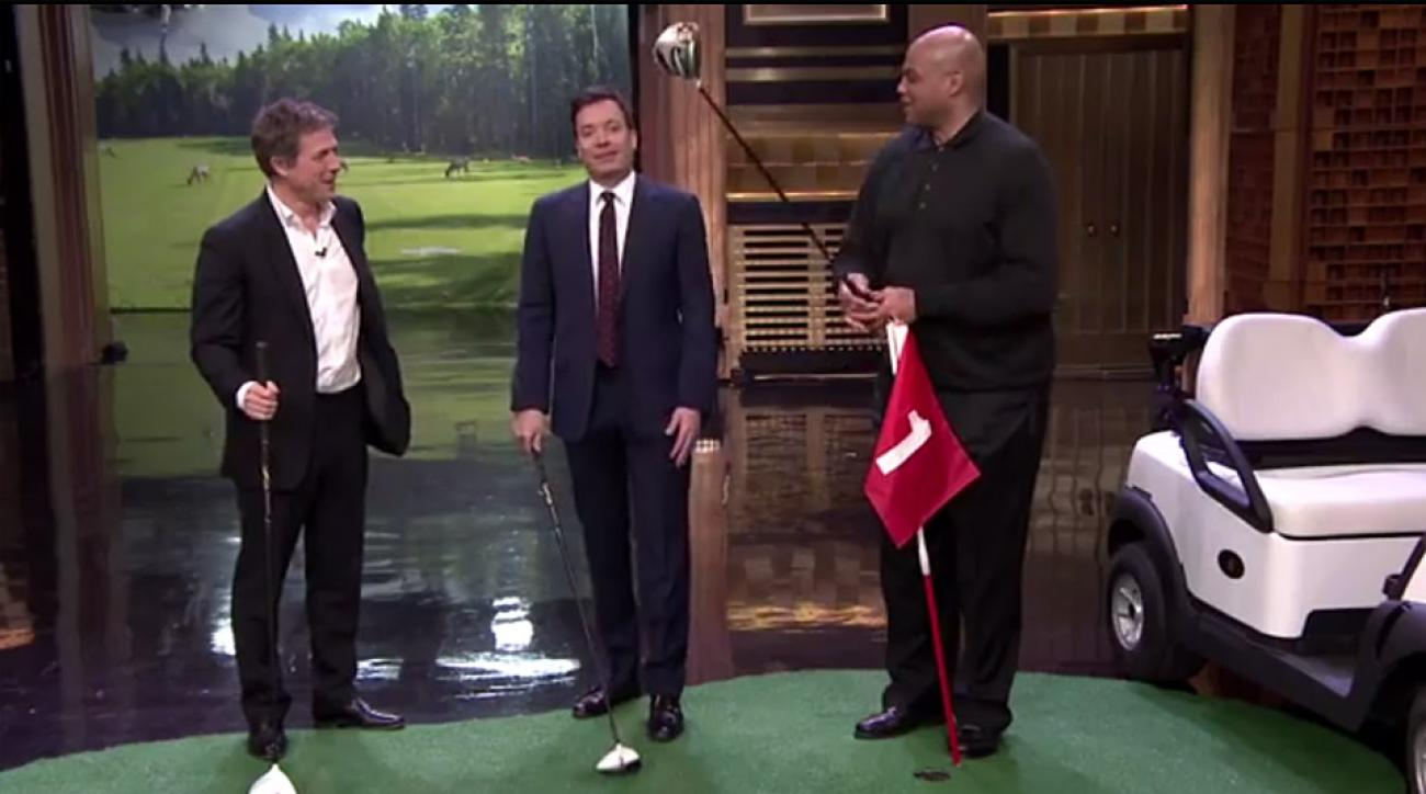 From left: Actor Hugh Grant, Jimmy Fallon, and former NBA star Charles Barkley.