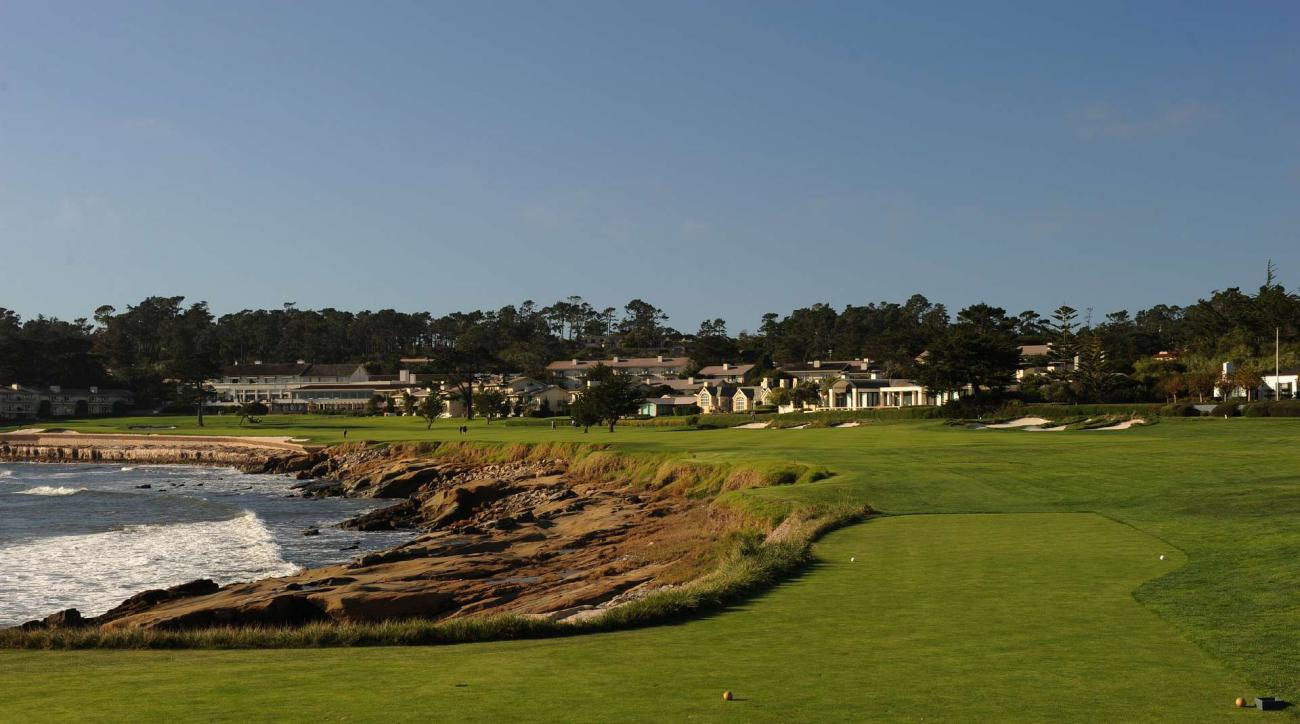 Pebble Beach's par-5 18th hole as seen from the tee box.