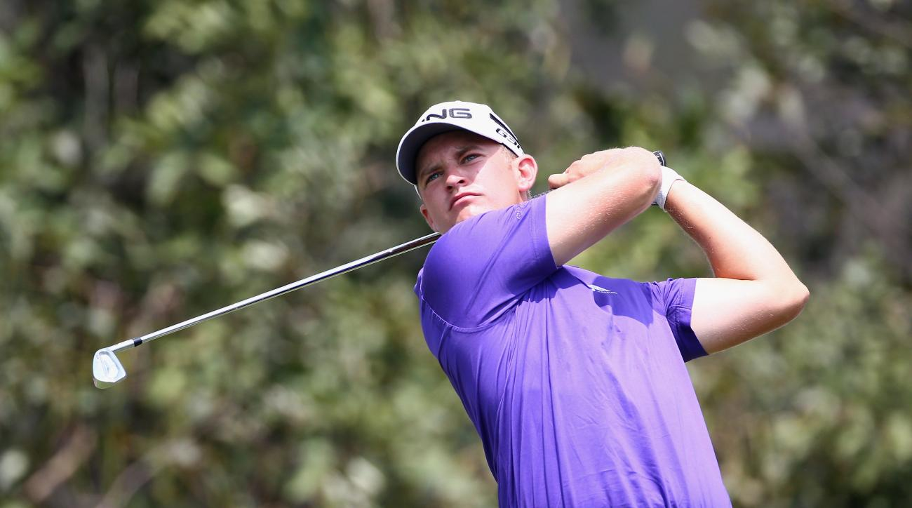Tom Lewis during the 3rd round of the 2015 True Thailand Classic at Black Mountain Golf Club.