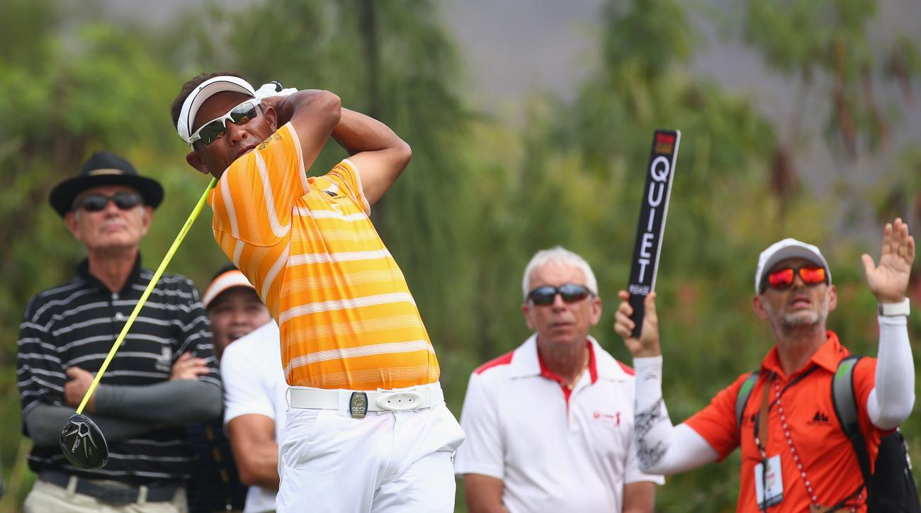 Thongchai Jaidee in action during the final round of the 2015 True Thailand Classic at Black Mountain Golf Club on Feb. 15, 2015