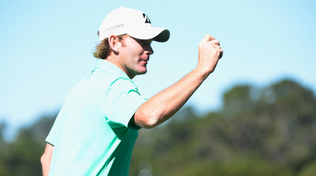 Brandt Snedeker reacts to his birdie on the fifth hole during the final round of the AT&T Pebble Beach National Pro-Am.