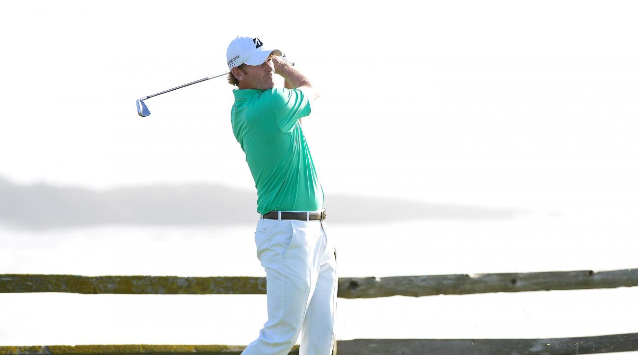 Brandt Snedeker hits his  tee shot on the 18th hole Sunday at the AT&T Pebble Beach National Pro-Am.