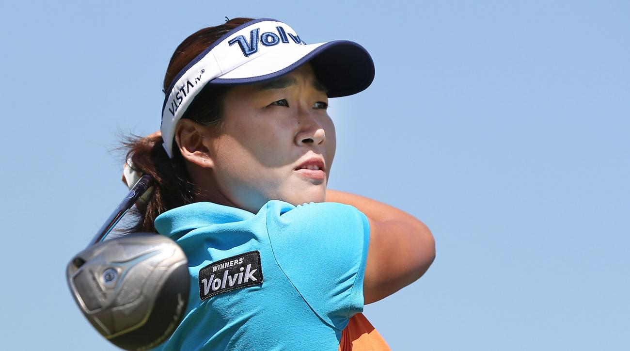 South Korea's Ilhee Lee hits a tee shot on the 18th tee during the first day of the LPGA Australian Open at Royal Melbourne Golf Course on Thursday in Melbourne, Australia.