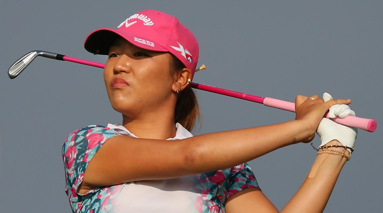 Lydia Ko of New Zealand hits an approach to the 12th green during the second day of the LPGA Australian Open at Royal Melbourne Golf Course on Friday in Melbourne, Australia.