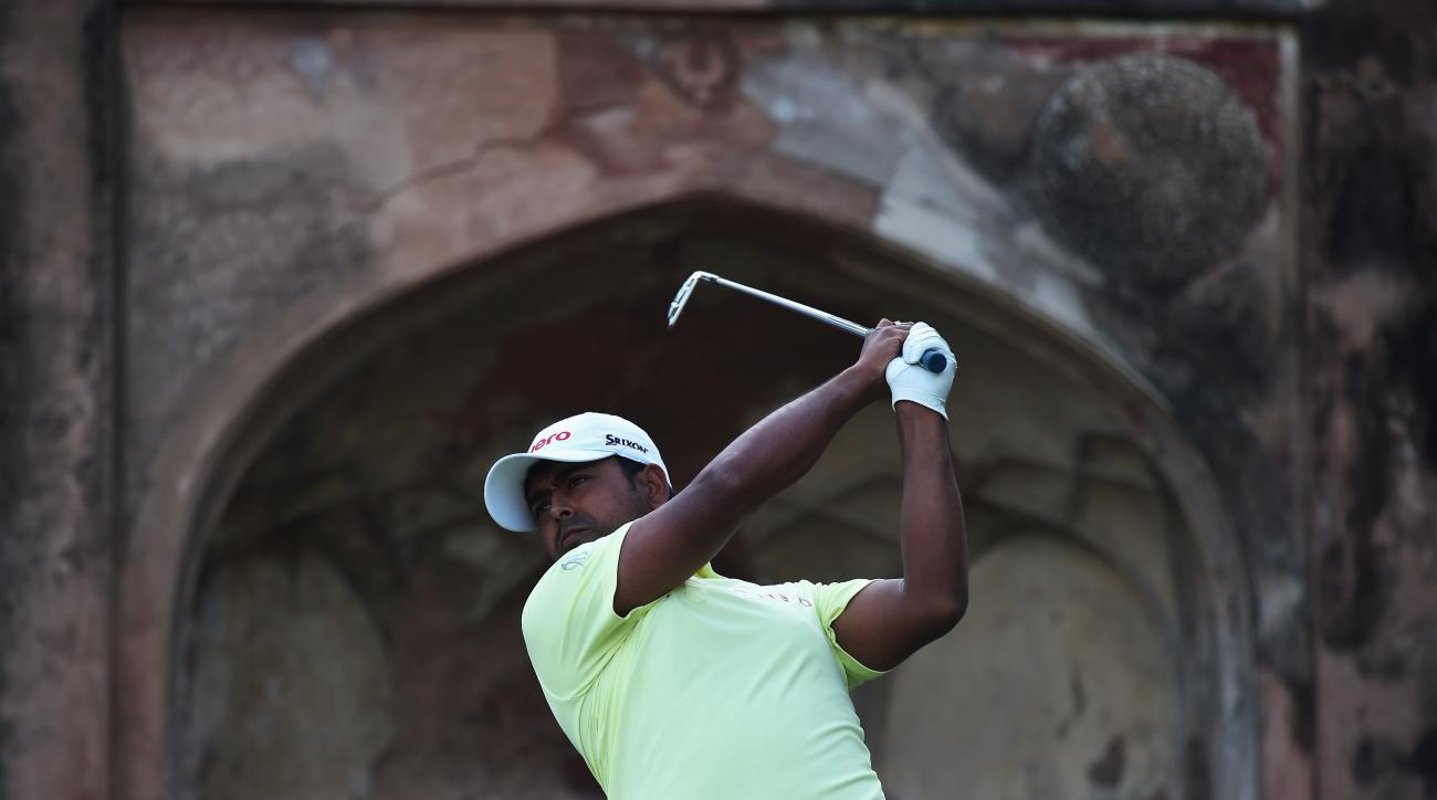 Anirban Lahiri plays a shot during the final round of the Hero India Open Golf at Delhi Golf Club.