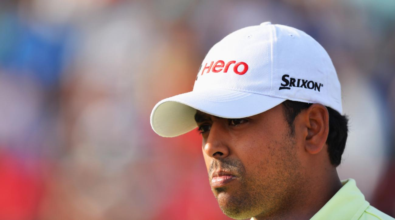 India's Anirban Lahiri ponders a shot during the final round of the Hero India Open Sunday in New Delhi, India. He's climbed to 34th in the Official World Golf Rankings.