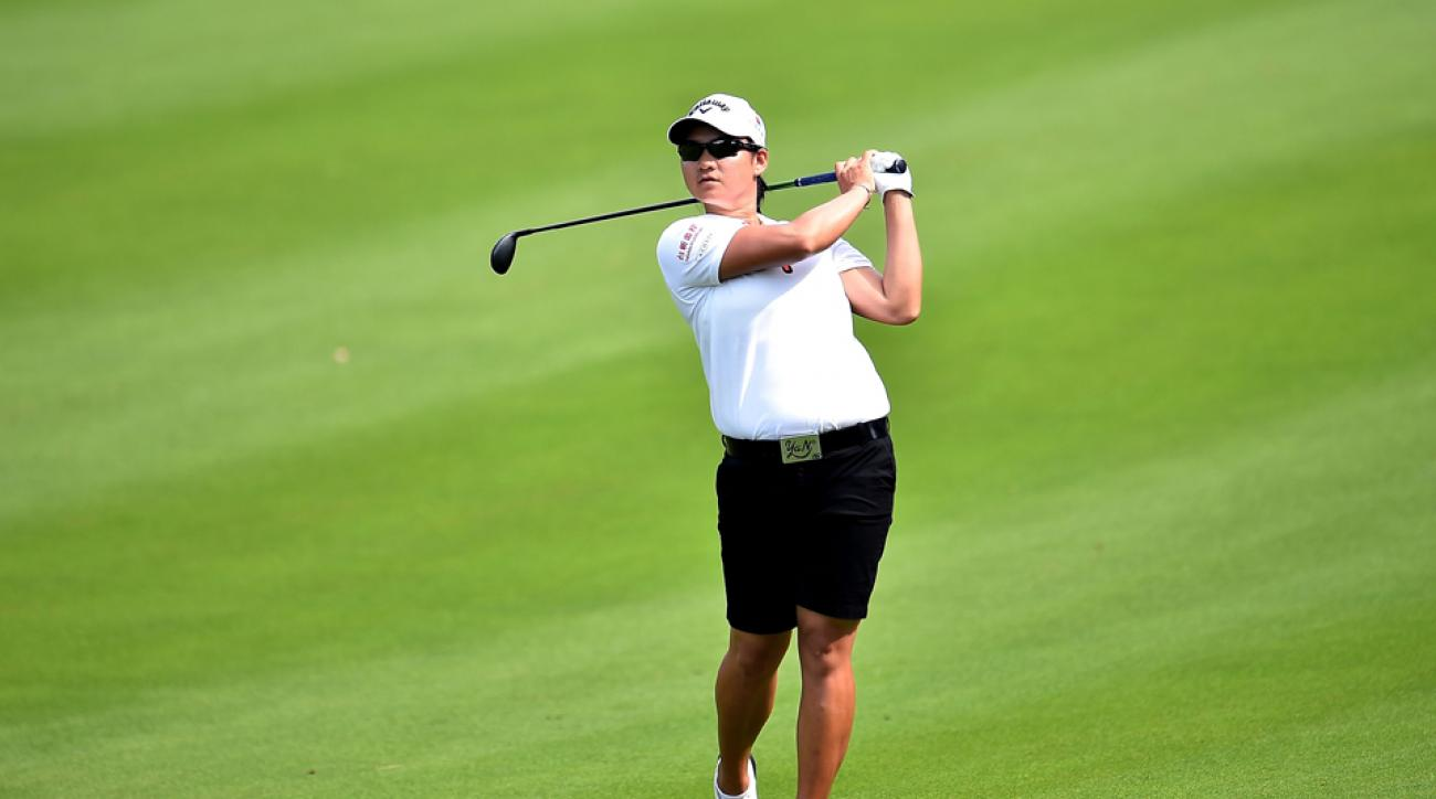 Yani Tseng watches a shot during the first round of the 2015 LPGA Thailand at Siam Country Club Thursday in Chon Buri, Thailand. Tseng is in a three-way tie for the lead.